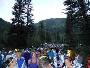 Before the race started, lots of Mylar kept us warm.. sort of! Check out the mountain!