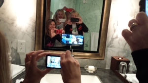 TV in the bathroom mirror!