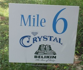 Each mile had a sign sponsored by a local entity.