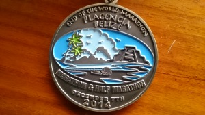 Medal from Placencia Belize Half Marathon Dec 2014