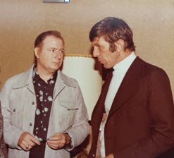 James L. Christian and Leonard Nimoy chatting in the mid-seventies.