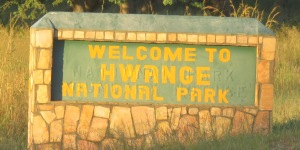 Entrance to Hwange NP sign